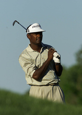 23 Mar 2000:  Vijay Singh of Fiji watches his second shot on the 14th hole during Friday's second round of The Players Championship at the Tournament Players Club at Sawgrass in Ponte Vedra, Florida.  Digital Image. Mandatory Credit: Jamie Squire/ALLSPORT