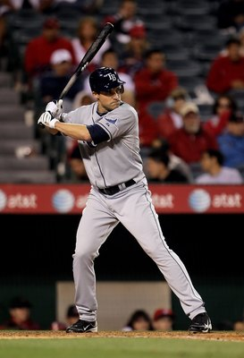 ANAHEIM, CA - MAY 10:  Pat Burrell #5 of the Tampa Bay Rays bats against the Los Angeles Angels of Anaheim at Angel Stadium on May 10, 2010 in Anaheim, California.  (Photo by Jeff Gross/Getty Images)