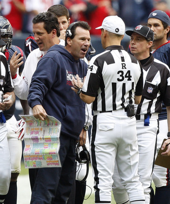 HOUSTON - NOVEMBER 28:  Head coach Gary Kubiak of the Houston Texans argues with referee Clete Blakeman in the fourth quarter at Reliant Stadium on November 28, 2010 in Houston, Texas.  (Photo by Bob Levey/Getty Images)