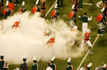MIAMI GARDENS, FL - OCTOBER 3:  The band as the Miami Hurricanes take the field before their start of the game against the Oklahoma Sooners on October 3, 2009 at Landshark Stadium in Miami Gardens, Florida. (Photo by Doug Benc/Getty Images)