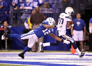 INDIANAPOLIS - NOVEMBER 28: Antoine Cason #20 of the San Diego Chargers intercepts a pass during the NFL game against the Indianapolis Colts at Lucas Oil Stadium on November 28, 2010 in Indianapolis, Indiana. The Chargers won 36-14.(Photo by Andy Lyons/Ge