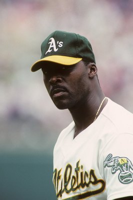 OAKLAND, CA - AUGUST 5:  Dave Stewart #34 of the Oakland Athletics looks on during an MLB game on August 5, 1991 at Oakland-Alameda County Coliseum in Oakland, California. (Photo by Otto Greule Jr./Getty Images)