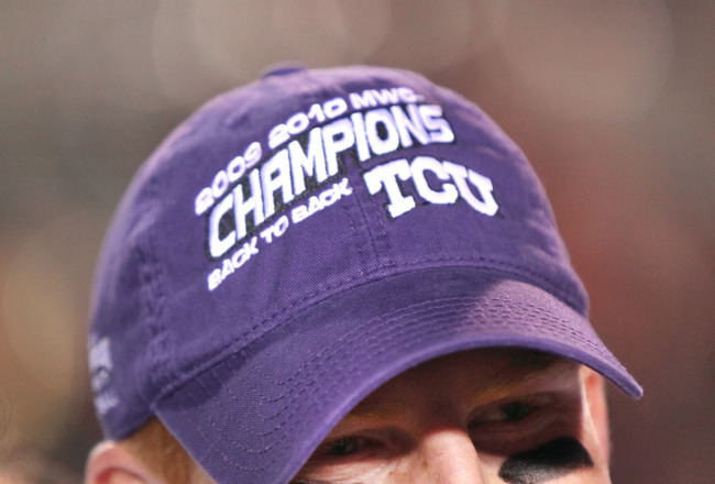 ALBUQUERQUE, NM - NOVEMBER 27: Quarterback Andy Dalton #14 of the TCU Horned Frogs smiles after defeating the University of New Mexico Lobos 66-17 on November 27, 2010 at University Stadium in Albuquerque, New Mexico. (Photo by Eric Draper/Getty Images)