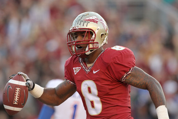 TALLAHASSEE, FL - NOVEMBER 27:  Taiwan Easterling #8 of the Florida State Seminoles celebrates a touchdown during a game against the Florida Gators at Doak Campbell Stadium on November 27, 2010 in Tallahassee, Florida.  (Photo by Mike Ehrmann/Getty Images