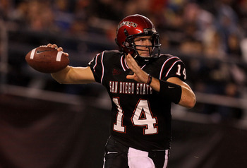 SAN DIEGO - NOVEMBER 20:  Quarterback Ryan Lindley #14 of the San Diego State Aztecs throws a pass against the Utah Utes at Qualcomm Stadium on November 20, 2010 in San Diego, California.  Utah won 38-34.  (Photo by Stephen Dunn/Getty Images)