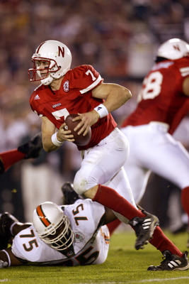 3 Jan 2002:  Quarterback Eric Crouch #7 of Nebraska scrambles against the defense of Miami during the Rose Bowl National Championship game at the Rose Bowl in Pasadena, California.  Miami won the game 37-14, winning the BCS and the National Championship t