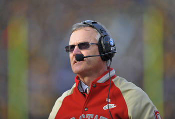 IOWA CITY, IA - NOVEMBER 20:  Ohio State Buckeyes head coach Jim Tressel looks on from the sidelines during first half action against the University of Iowa Hawkeyes at Kinnick Stadium on November 20, 2010 in Iowa City, Iowa. Ohio State won 20-17 over Iow