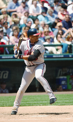 SEATTLE - JUNE 14:  Right fielder Gary Sheffield #11 of the Atlanta Braves swings at a Seattle Mariners pitch during the interleague game at Safeco Field on June 14, 2003 in Seattle, Washington. Atlanta won 3-1.  (Photo by Otto Greule Jr./Getty Images)