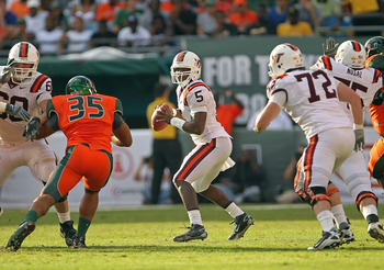 MIAMI - NOVEMBER 20:  Tyrod Taylor #5 of the Virginia Tech Hokies drops back to pass during a game against the Miami Hurricanes at Sun Life Stadium on November 20, 2010 in Miami, Florida.  (Photo by Mike Ehrmann/Getty Images)