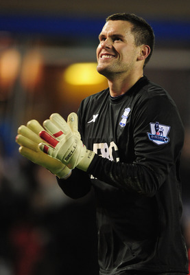 BIRMINGHAM, ENGLAND - NOVEMBER 20:  Ben Foster of Birmingham City celebrates victory after the Barclays Premier League match between Birmingham City and Chelsea at St Andrews on November 20, 2010 in Birmingham, England.  (Photo by Shaun Botterill/Getty Im