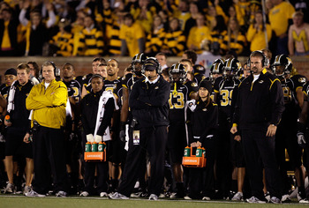 COLUMBIA, MO - OCTOBER 24:  Head coach Gary Pinkel and the Missouri Tigers watch from the sidelines during the game against the Texas Longhorns on October 24, 2009 at Faurot Field/Memorial Stadium in Columbia, Missouri.  (Photo by Jamie Squire/Getty Image