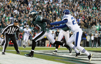 PHILADELPHIA - NOVEMBER 07:  DeSean Jackson #10 of the Philadelphia Eagles runs in a reception for a touchdown against Jacob Lacey #27 of the Indianapolis Colts on November 7, 2010 at Lincoln Financial Field in Philadelphia, Pennsylvania.  (Photo by Jim M