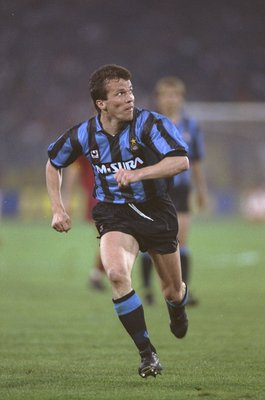 22 May 1991:  Lothar Matthaus of Inter Milan in action during the UEFA Cup final against AS Roma at the Olympic Stadium in Rome. Inter Milan won the match 2-1. \ Mandatory Credit: Shaun  Botterill/Allsport