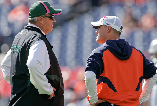 DENVER - OCTOBER 17: Head coach Rex Ryan of the New York Jets talks with head coach Josh McDaniels of the Denver Broncos before the game at INVESCO Field at Mile High on October 17, 2010 in Denver, Colorado.  (Photo by Justin Edmonds/Getty Images)