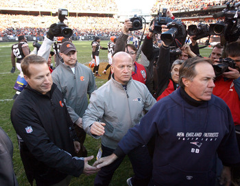 CLEVELAND - NOVEMBER 07:  Head coach Eric Mangini of the Cleveland Browns shakes hands with head coach Bill Belichick of the New England Patriots at Cleveland Browns Stadium on November 7, 2010 in Cleveland, Ohio.  (Photo by Matt Sullivan/Getty Images)