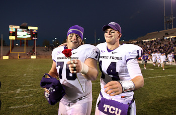 ALBUQUERQUE, NM - NOVEMBER 27: Jake Kirkpatrick #76 and Andy Dalton #14 of the TCU Horned Frogs celebrate the win against the University of New Mexico Lobos on November 27, 2010 at University Stadium in Albuquerque, New Mexico. TCU won 66-17. (Photo by Er