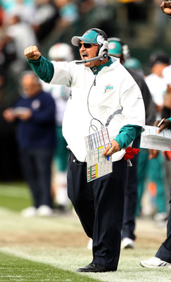 OAKLAND, CA - NOVEMBER 28:  Head coach Tony Sparano of the Miami Dolphins shouts to his team during their game against the Oakland Raiders at Oakland-Alameda County Coliseum on November 28, 2010 in Oakland, California.  (Photo by Ezra Shaw/Getty Images)