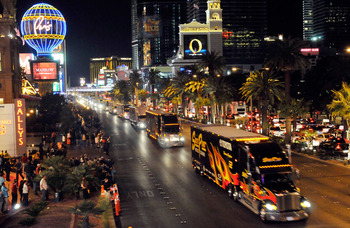 This photo of NASCAR hauler parade down Las Vegas Strip was shot from pedestrian bridge over Flamingo.