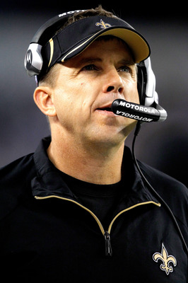 ARLINGTON, TX - NOVEMBER 25:  Head coach Sean Payton of the New Orleans Saints on the sidelines against the Dallas Cowboys at Cowboys Stadium on November 25, 2010 in Arlington, Texas.  (Photo by Matthew Stockman/Getty Images)