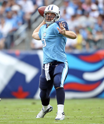 NASHVILLE, TN - OCTOBER 24:  Kerry Collins #5 of the Tennessee Titans throws a pass during the NFL game against the Philadelphia Eagles at LP Field on October 24, 2010 in Nashville, Tennessee. The Titans won 37-19.  (Photo by Andy Lyons/Getty Images)