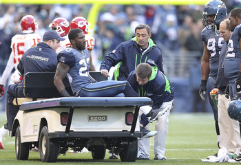 SEATTLE - NOVEMBER 28:  Cornerback Marcus Trufant #23 of the Seattle Seahawks is taken off the field as the result of an injury against the Kansas City Chiefs at Qwest Field on November 28, 2010 in Seattle, Washington. The Chiefs defeated the Seahawks 42-