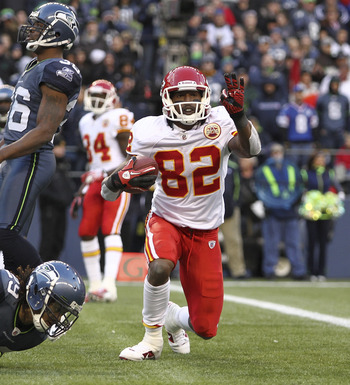 SEATTLE - NOVEMBER 28:  Wide receiver Dwayne Bowe #82 of the Kansas City Chiefs reacts after scoring a touchdown against Earl Thomas #29 of the Seattle Seahawks to take a 34-17 lead at Qwest Field on November 28, 2010 in Seattle, Washington. The Chiefs de