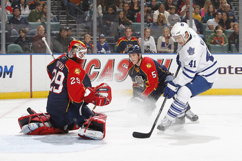 SUNRISE, FL - NOVEMBER 10: Goaltender Tomas Vokoun #29 of the Florida Panthers stops a shot by Nikolai Kulemin #41 of the Toronto Maple Leafs on November 10, 2010 at the BankAtlantic Center in Sunrise, Florida. The Panthers defeated the Maple Leafs 4-1. (