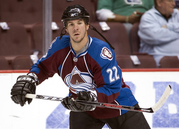 VANCOUVER, CANADA - OCTOBER 26: Scott Hannan #22 of the Colorado Avalanche takes part in the pre-game skate prior to NHL action against the Vancouver Canucks on October 26, 2010 at Rogers Arena in Vancouver, British Columbia, Canada.  (Photo by Rich Lam/G