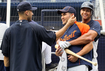 NEW YORK - AUGUST 16:  Alex Rodriguez #13 and Derek Jeter #2 of the New York Yankees have a laugh with former teammate Johnny Damon #18 of the Detroit Tigers prior to their game on August 16, 2010 at Yankee Stadium in the Bronx borough of New York City.