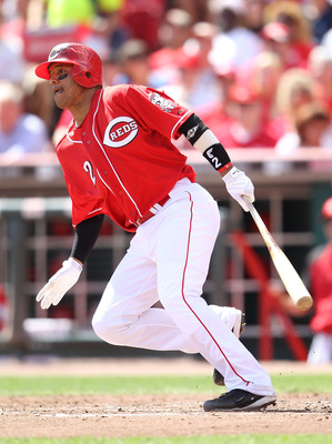 CINCINNATI - SEPTEMBER 12: Orlando Cabrera #2 of the Cincinnati Reds hits a double in the fourth inning during the game against the Pittsburgh Pirates at Great American Ballpark on September 12, 2010 in Cincinnati, Ohio.  (Photo by Andy Lyons/Getty Images