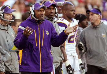 LANDOVER, MD - NOVEMBER 28:   Minnesota Vikings Interim Head Coach Leslie Frazier talks to referees from the sideline while playing the Washington Redskins at FedExField November 28, 2010 in Landover, Maryland. The Vikings won the game 17-13.  (Photo by W