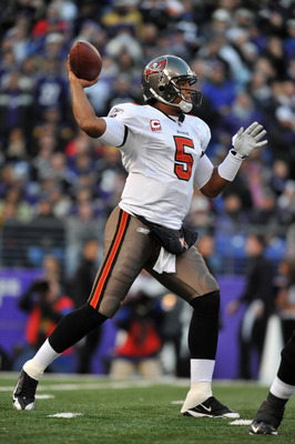 BALTIMORE, MD - NOVEMBER 28:  Josh Freeman #5 of the Tampa Bay Buccaneers passes against the Baltimore Ravens at M&T Bank Stadium on November 28, 2010 in Baltimore, Maryland. The Ravens led the Buccaneers at the half 17-3. (Photo by Larry French/Getty Ima