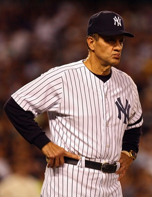 NEW YORK - OCTOBER 08:  Manager Joe Torre #6 of the New York Yankees stands on the field against the Cleveland Indians during Game Four of the American League Division Series at Yankee Stadium on October 8, 2007 in the Bronx borough of New York City.  (Ph