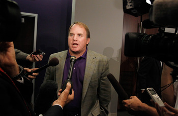 DALLAS - NOVEMBER 29:  Texas Christian University head football coach Gary Patterson talks with the media after TCU accepted an invitation for full membership into The Big East Conference on November 29, 2010 in Fort Worth, Texas.  TCU will leave the Moun