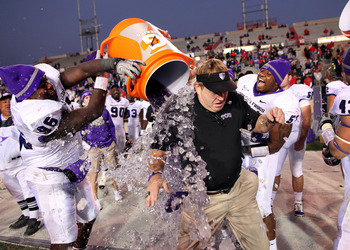 ALBUQUERQUE, NM - NOVEMBER 27: Head coach Gary Patterson of the TCU Horned Frogs is doused with Gatorade by his players while celebrating their win over the New Mexico Lobos on November 27, 2010 at University Stadium in Albuquerque, New Mexico. TCU won 66