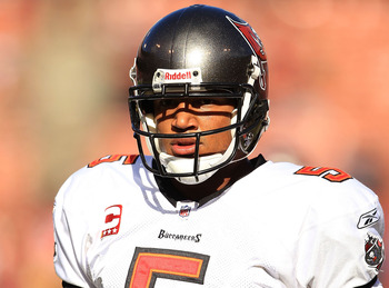 SAN FRANCISCO - NOVEMBER 21:  Josh Freeman #5 of the Tampa Bay Buccaneers warms up before their game against the San Francisco 49ers at Candlestick Park on November 21, 2010 in San Francisco, California.  (Photo by Ezra Shaw/Getty Images)