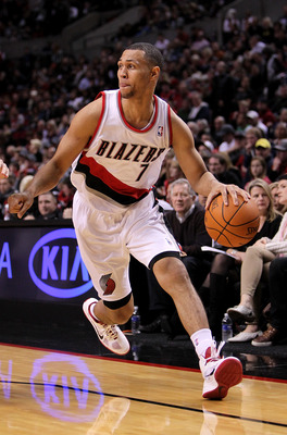PORTLAND, OR - OCTOBER 26:  Brandon Roy #7 of the Portland Trail Blazers dribbles the ball against  the Phoenix Suns on October 26, 2010 at the Rose Garden in Portland, Oregon.  NOTE TO USER: User expressly acknowledges and agrees that, by downloading and