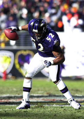 31 Dec 2000:  Ray Lewis #52 of the Balitmore Ravens celebrates after intercepting a pass from the Denver Broncos in the first period of the AFC Wildcard playoff game at PSINet Stadium in Baltimore, Maryland. The Ravens won 21-3. DIGITAL IMAGE Mandatory Cr