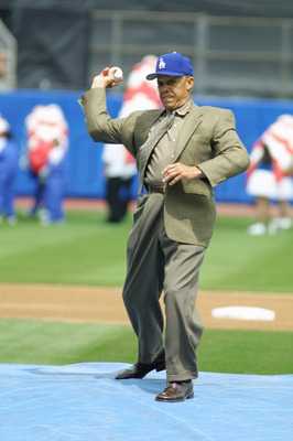 2 Apr 2001: Former Dodger player Maury Wills throws out the first pitch prior to the game against the Milwaukee Brewers at Dodger Stadium in Los Angeles, California. The Dodgers won the game 1-0. DIGITAL IMAGE. Mandatory Credit: Scott Halleran/ALLSPORT