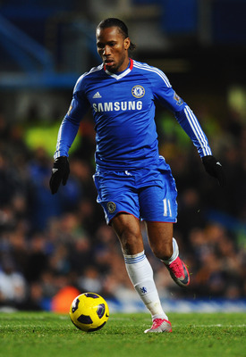 LONDON, ENGLAND - NOVEMBER 10:  Didier Drogba of Chelsea in action during the Barclays Premier League match between Chelsea and Fulham at Stamford Bridge on November 10, 2010 in London, England.  (Photo by Mike Hewitt/Getty Images)
