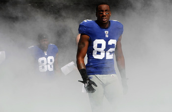 EAST RUTHERFORD, NJ - OCTOBER 17: Mario Manningham #82 of the New York Giants against the Detroit Lions at New Meadowlands Stadium on October 17, 2010 in East Rutherford, New Jersey.  (Photo by Nick Laham/Getty Images)