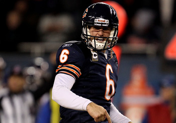 CHICAGO - NOVEMBER 28: Jay Cutler #6 of the Chicago Bears yells at a referee, earning an unsportsman-like conduct penalty, against of the Philadelphia Eagles at Soldier Field on November 28, 2010 in Chicago, Illinois. The Bears defeated the Eagles 31-26.