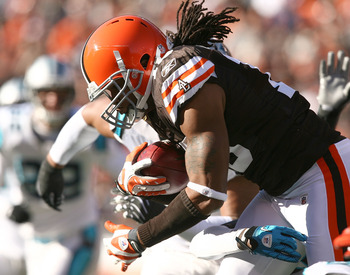 CLEVELAND - NOVEMBER 28:  Wide receiver Joshua Cribbs #16 of the Cleveland Browns runs the ball against the Carolina Panthers at Cleveland Browns Stadium on November 28, 2010 in Cleveland, Ohio.  (Photo by Matt Sullivan/Getty Images)