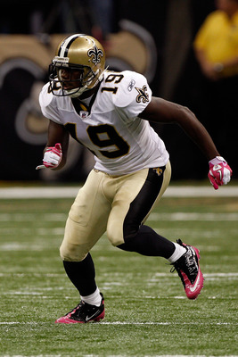 NEW ORLEANS - OCTOBER 03:  Devery Henderson #19 of the New Orleans Saints in action during the game against  the Carolina Panthers at the Louisiana Superdome on October 3, 2010 in New Orleans, Louisiana.  (Photo by Chris Graythen/Getty Images)