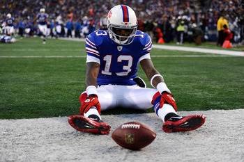 ORCHARD PARK, NY - NOVEMBER 28:  Steve Johnson #13 of the Buffalo Bills reacts after dropping a pass in the end zone during overtime against the Pittsburgh Steelers at Ralph Wilson Stadium on November 28, 2010 in Orchard Park, New York.  (Photo by Karl Wa