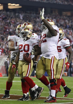 GLENDALE, AZ - NOVEMBER 29:  Runningback Brian Westbrook #20 of the San Francisco 49ers celebrates with teammates after scoring on a 8 yard rushing touchdown against the Arizona Cardinals during the second quarter of the NFL game at the University of Phoe