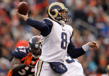 DENVER - NOVEMBER 28:  Quarterback Sam Bradford #8 of the St. Louis Rams makes a pass against the Denver Broncos in the first quarter at INVESCO Field at Mile High on November 28, 2010 in Denver, Colorado. (Photo by Justin Edmonds/Getty Images)