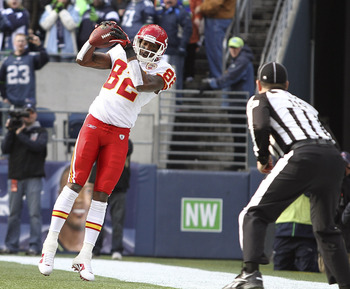 SEATTLE - NOVEMBER 28:  Wide receiver Dwayne Bowe #82 of the Kansas City Chiefs makes his first touchdown catch against Kelly Jennings #21 of the Seattle Seahawks at Qwest Field on November 28, 2010 in Seattle, Washington. (Photo by Otto Greule Jr/Getty I