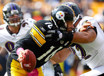 PITTSBURGH - OCTOBER 03:  Charlie Batch #16 of the Pittsburgh Steelers is sacked by Haloti Ngata #92 of the Baltimore Ravens during the game on October 3, 2010 at Heinz Field in Pittsburgh, Pennsylvania.  (Photo by Jared Wickerham/Getty Images)