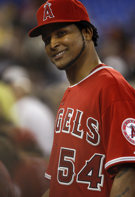 TORONTO - APRIL 18: Ervin Santana #54 of the Los Angeles Angels of Anaheim celebrates their win against the Toronto Blue Jays during a MLB game at the Rogers Centre April 18, 2010 in Toronto, Ontario, Canada. (Photo by Abelimages/Getty Images)